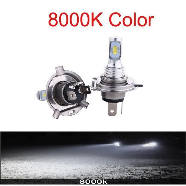 2PC H4 H7 H11 Universel 6500K Moto Phare Antibrouillard Lampe CSP LED Ampoule Hi Lo Faisceau Sans Fil Installat H7-8000K -WM1156