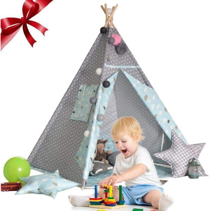 Tente de tipi pour Enfants, Tente d'escalade Play Tent, Tente de Jeu Portable pour garçons et Filles intérieur/extérieur, Bleu