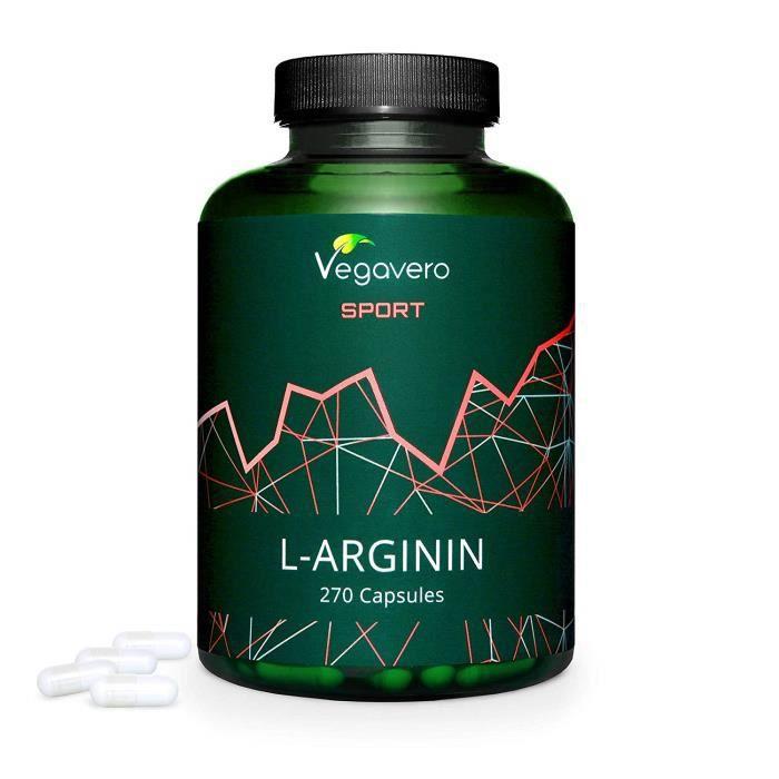 L – Arginine Vegavero Sport® - 700 mg - 270 Gélules - Pureté Certifiée- Complément Pre Workout - Pump et Croissance Musculaire –
