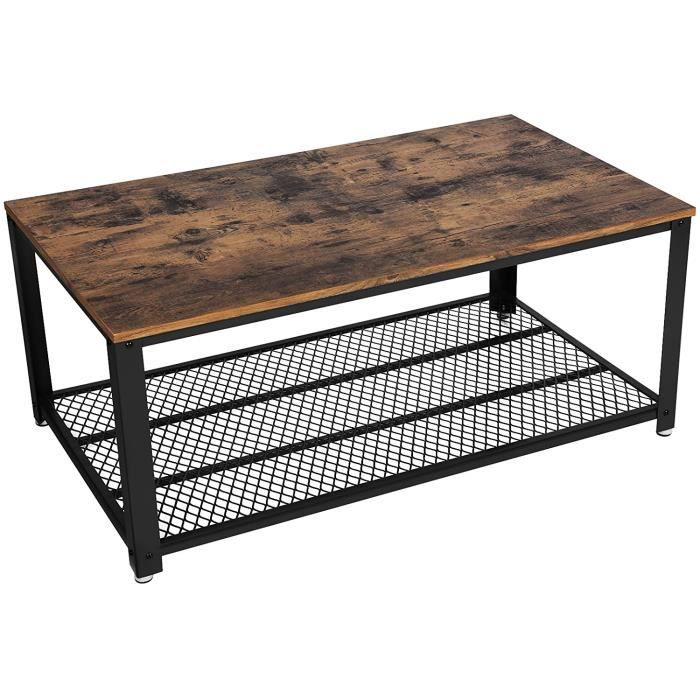 VASAGLE Table Basse au Design Industriel avec Grand Plateau, Pieds reacuteglables, Protection du Sol, Armature en meacutetal - Sta