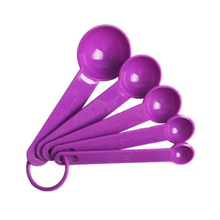 Cuillère,Cuillères À mesurer 5 Pièces De haute Qualité En Plastique Cuillères À Mesurer Tasse Cuisine Échelle de - Type purple