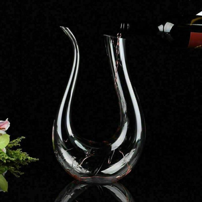 Carafes vin,Cristal en forme de U 1500ml vin décanteur harpe cygne décanteur créatif vin séparateur clair vin aérateur - Type 1PC