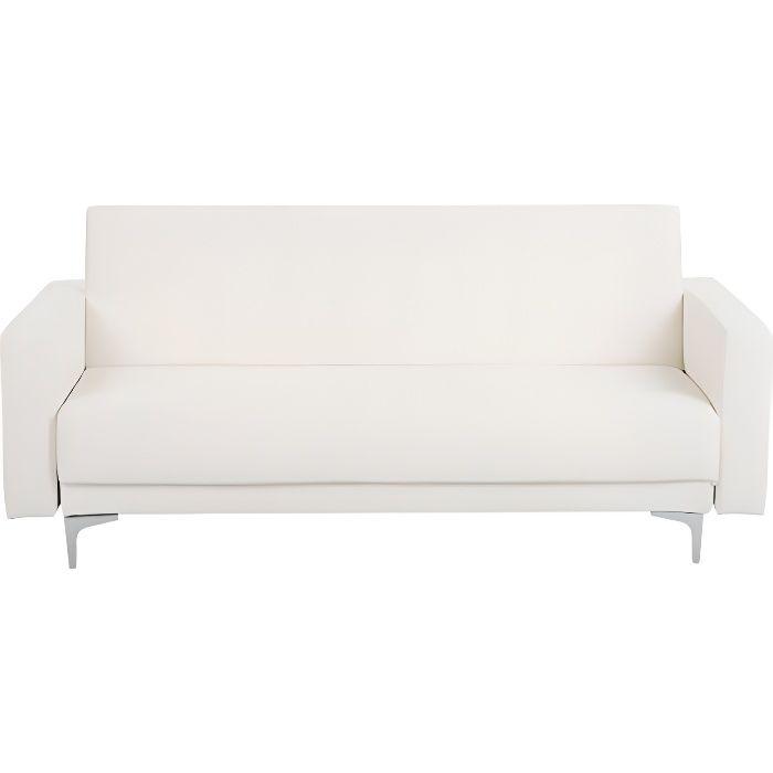 Beliani - Canapé 3 places en simili-cuir blanc ABERDEEN