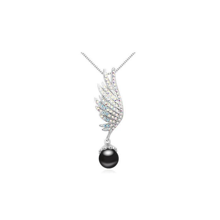 Pendentif Aile Perle Noire et Cristal de Swarovski Elements Blanc et Plaqué Rhodium