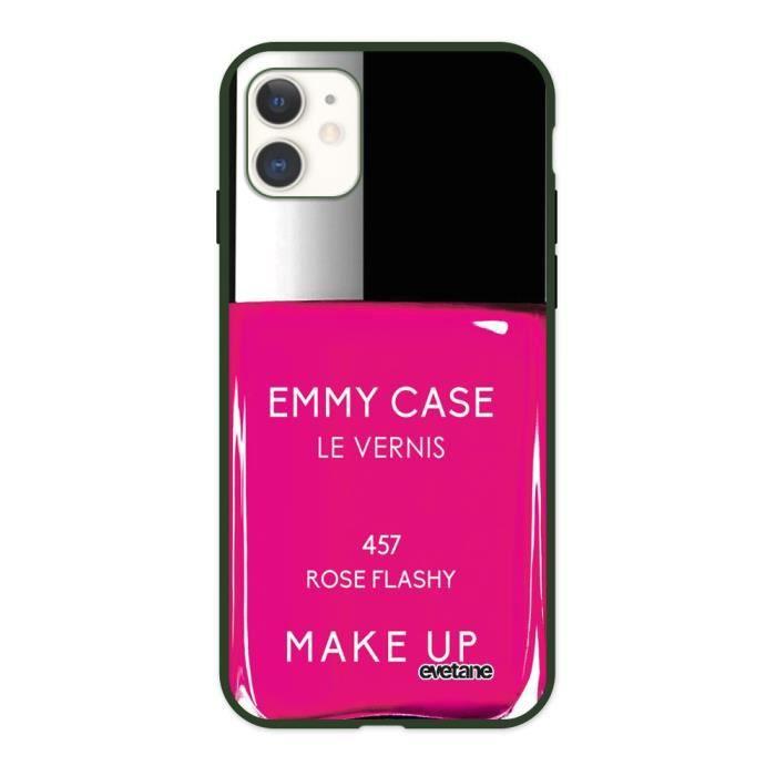Coque iPhone 11 Silicone Liquide Douce vert caki Vernis Rose Ecriture Tendance et Design Evetane