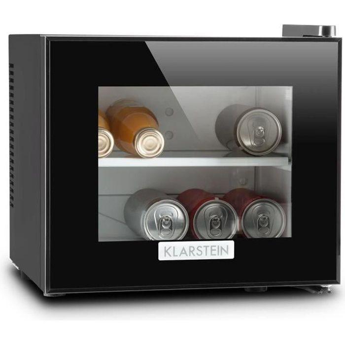 Klarstein Frosty - Mini frigo pour boissons et snacks / Réfrigérateur compact pour chambre d'hotel (contenance 10L, 65W, Classe A)