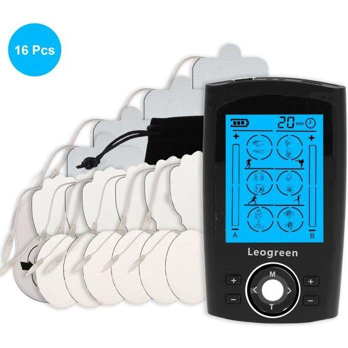 Leogreen Appareil de Stimulation Électrique TENS EMS Rechargeable, 24 Programmes d'Entraînement 16 Électrodes 2 Canaux