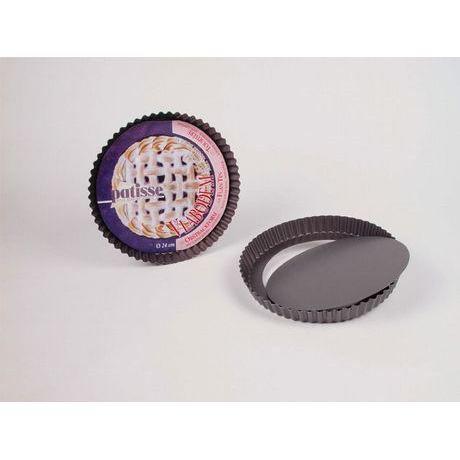 PATISSE Moule à tarte avec fond amovible antiadhésif en acier revêtu - Ø 28 cm - Gris foncé