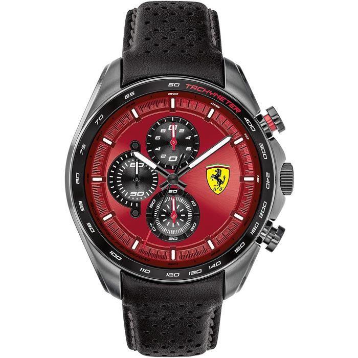 Scuderia Ferrari Homme Analogique Quartz Montre avec Bracelet en Cuir 0830650 7719