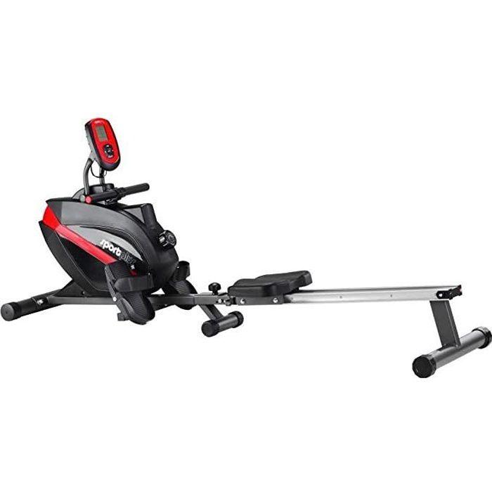 SportPlus - Rameur Pliable, Système de freinage magnétique, 8 niveaux de résistance, Silencieux, Siège avec roulement à billes,