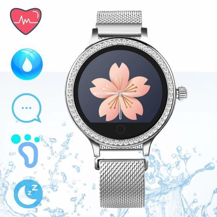 Montre Intelligente Femme - Montre Connectée Smartwatch Bluetooth IP68 Étanche Activité Tracker Moniteur de Sommeil Fréquence