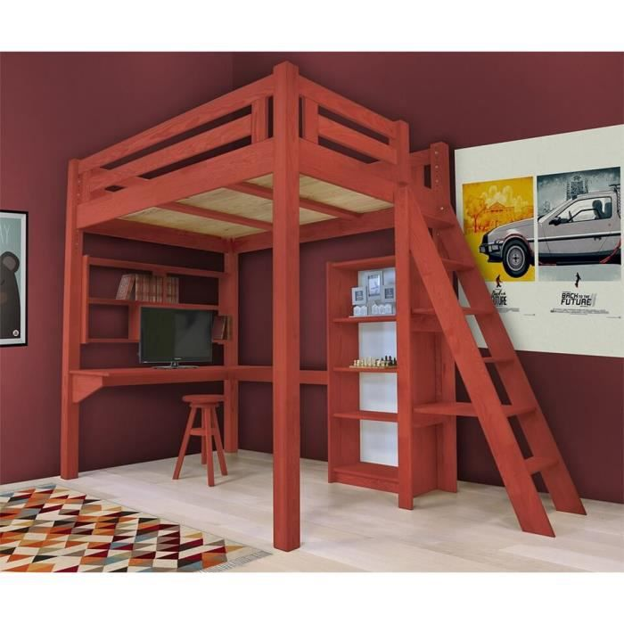 lit mezzanine alpage bois chelle hauteur r glable teint rouge 140x200 achat vente. Black Bedroom Furniture Sets. Home Design Ideas