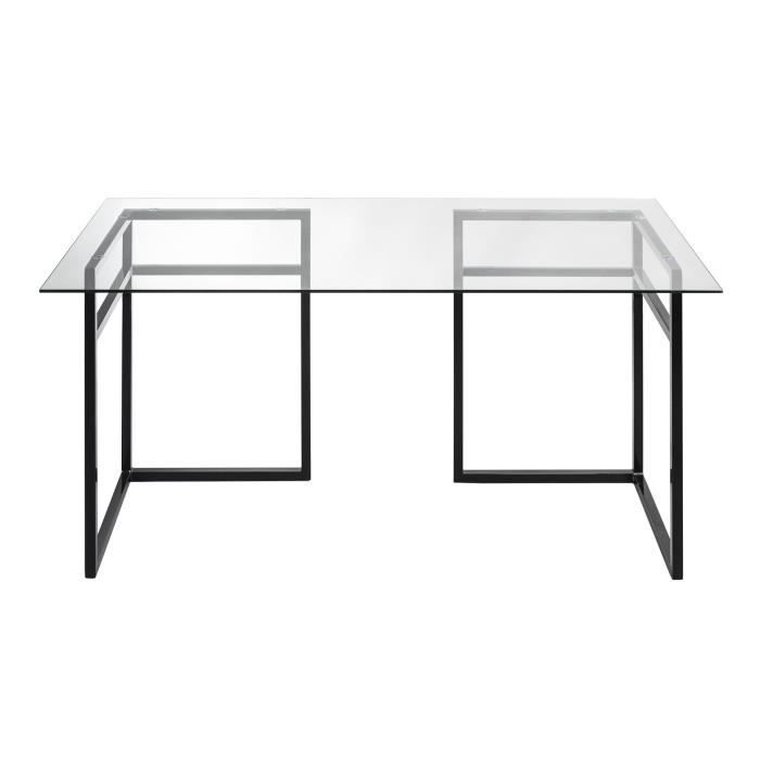 miro bureau 75x150cm avec plateau en verre transparent et tr teaux noirs transparent achat. Black Bedroom Furniture Sets. Home Design Ideas