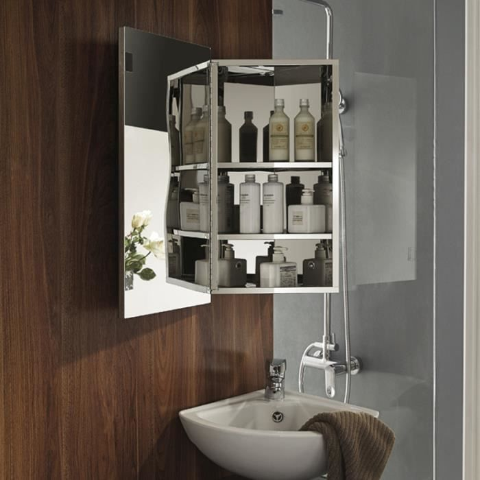 armoire salle de bain murale miroir achat vente pas cher. Black Bedroom Furniture Sets. Home Design Ideas