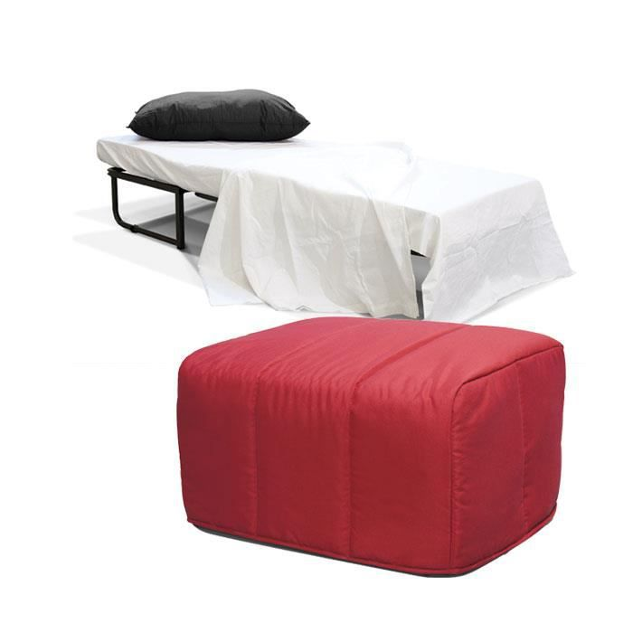 lit pliant convertible pouf housse ligne rouge achat vente lit pliant cdiscount. Black Bedroom Furniture Sets. Home Design Ideas
