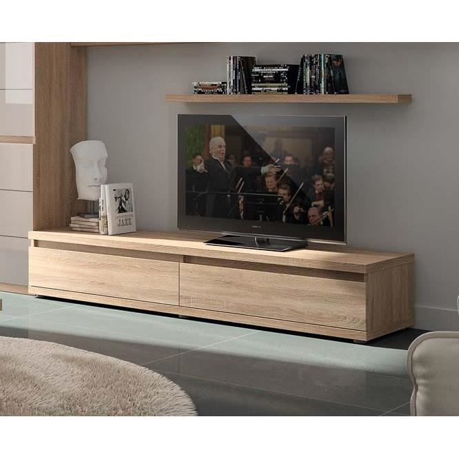 meuble tv couleur ch ne clair contemporain adriely achat. Black Bedroom Furniture Sets. Home Design Ideas
