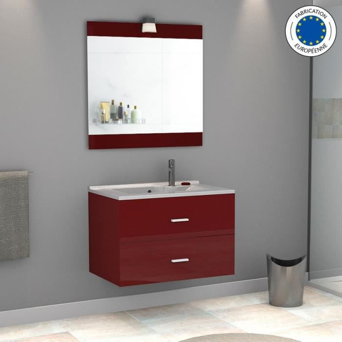 Meuble salle de bain simple vasque cavallo 80 rouge for Meuble suspendu salle de bain design