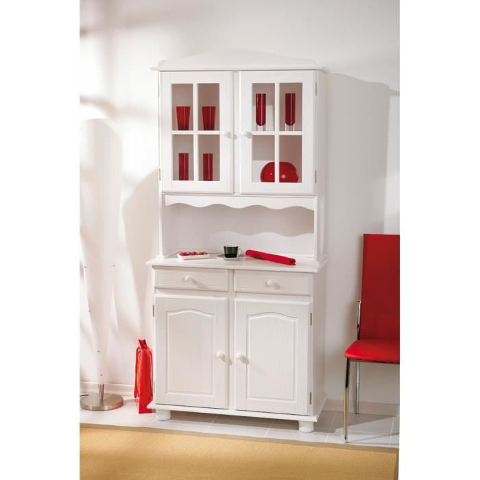 vitrine 2 portes coloris blanc en pin massif achat. Black Bedroom Furniture Sets. Home Design Ideas