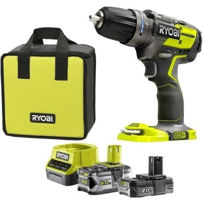 RYOBI Pack Perceuse-visseuse à percussion Brushless + 2 Batteries - 2 / 5Ah - 60 Nm