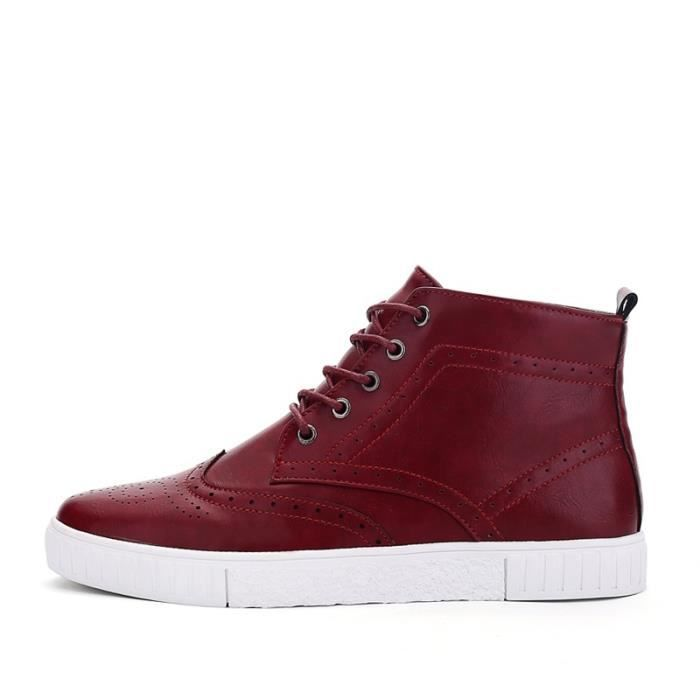 Botte Homme Casual Mocassins stretch antidérapanterouge taille10