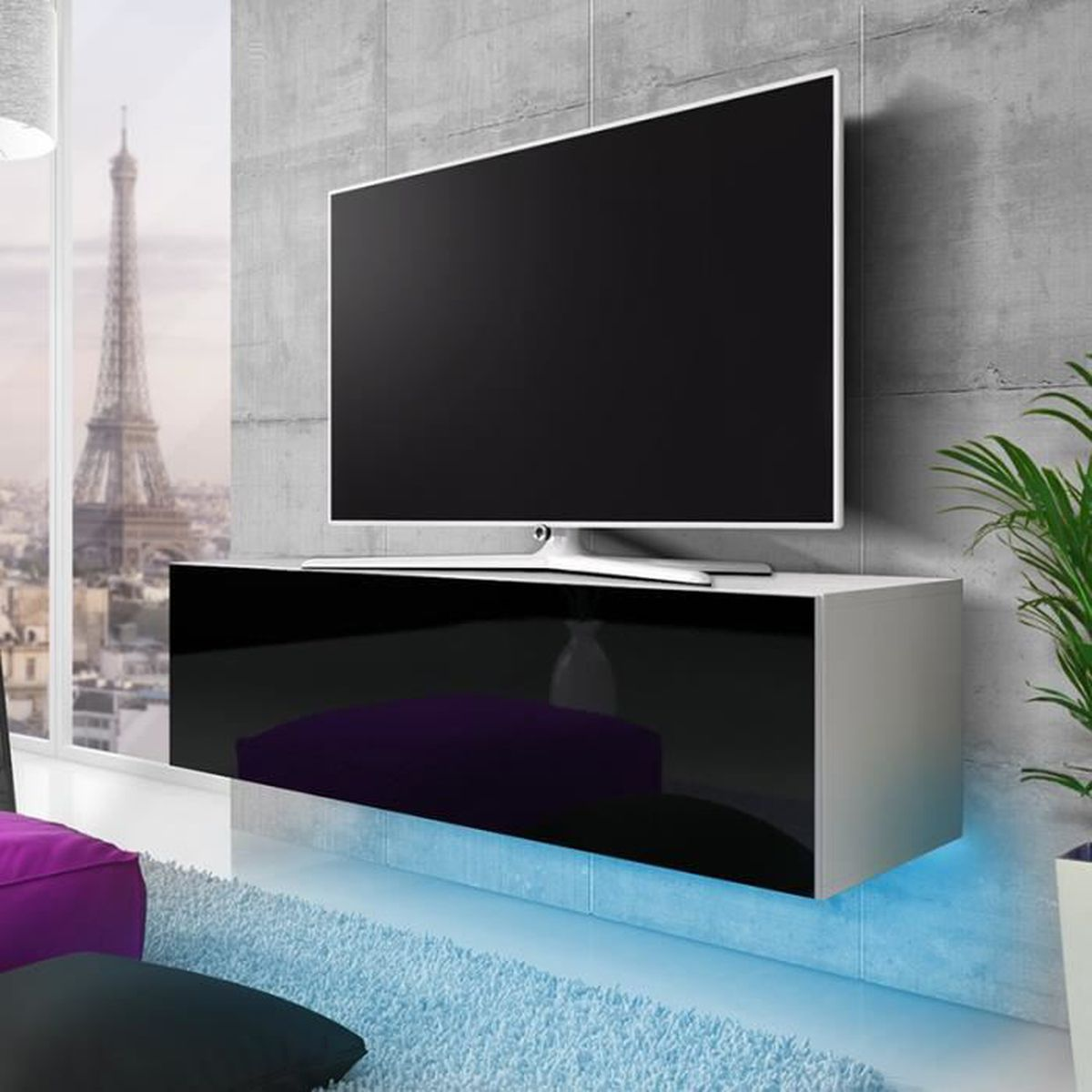 meuble tv lana avec led bleue blanc mat noir brillant 140cm achat vente meuble tv meuble. Black Bedroom Furniture Sets. Home Design Ideas