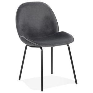 CHAISE Chaise vintage 'MAGALY' en velours gris foncé et p