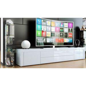 MEUBLE TV Meuble bas pour tv blanc laqué