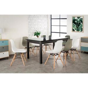 table extensible noir achat vente table extensible noir pas cher cdiscount. Black Bedroom Furniture Sets. Home Design Ideas