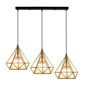 APPLIQUE  Lustre Suspension Cage Diamant Fer Moderne
