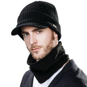 CHAPEAU Laine Tricot Bonnet d'hiver Hat Visor et écharpe E