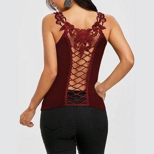 T-SHIRT Femmes Pure Color évidant col rond manches T-shirt