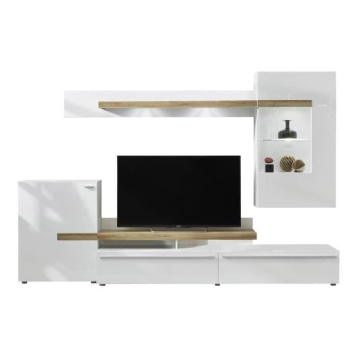 Olymp meuble tv led contemporain mélaminé blanc mat et brillant l 282 cm