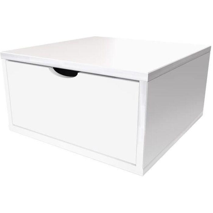 Cube de rangement largeur 50 cm + tiroir - Couleur - Blanc