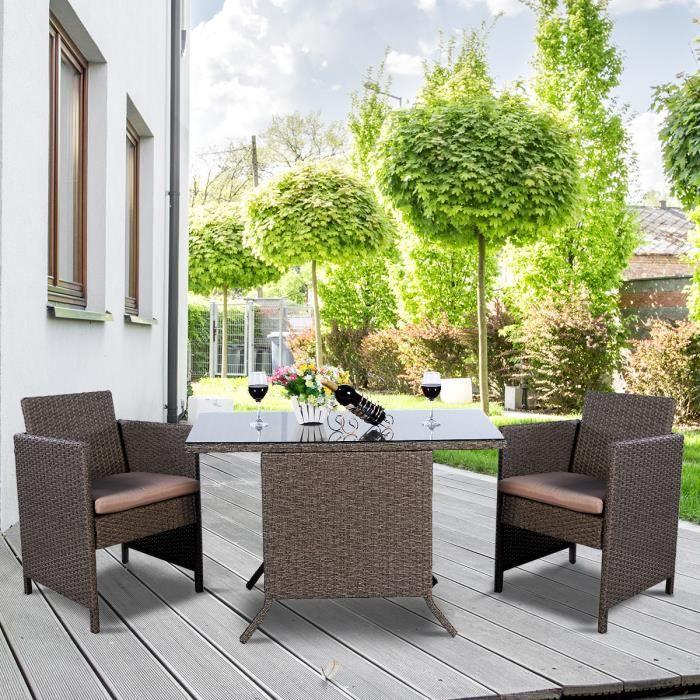 Ensemble Salon de Jardin Table de Jardin en Résine Trssée Poly Rotin Set 3PCS Table + 2 Chaises, Marron