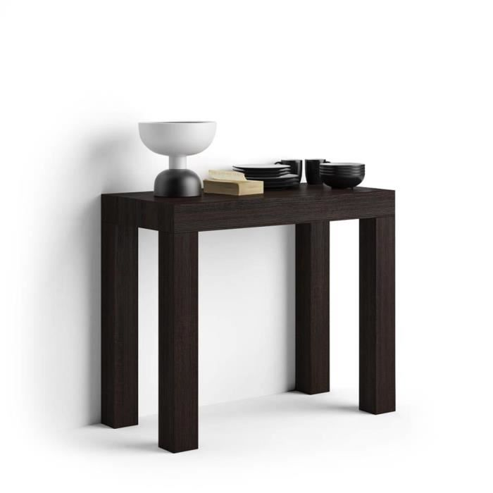 Mobili Fiver, Table Console extensible First, Wengé, Mélaminé/Aluminium, Made in Italy