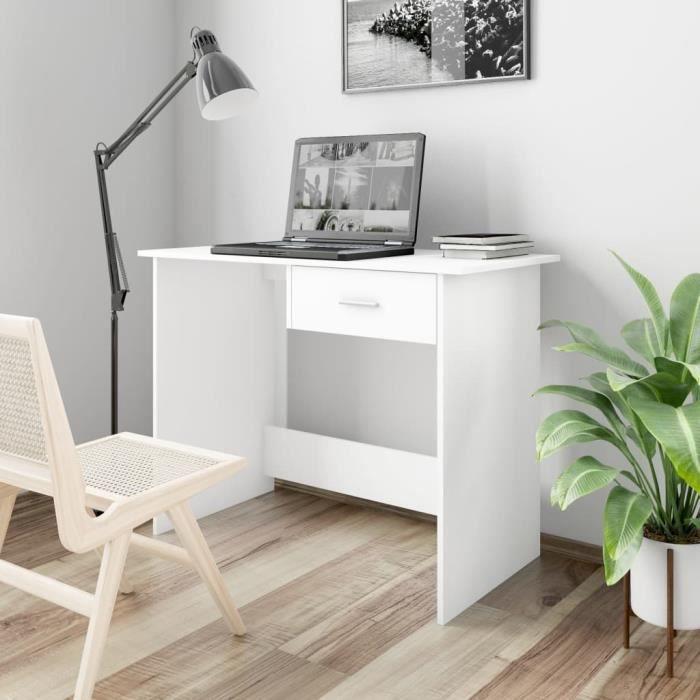FUDANY-Bureau Blanc 100 x 50 x 76 cm Aggloméré