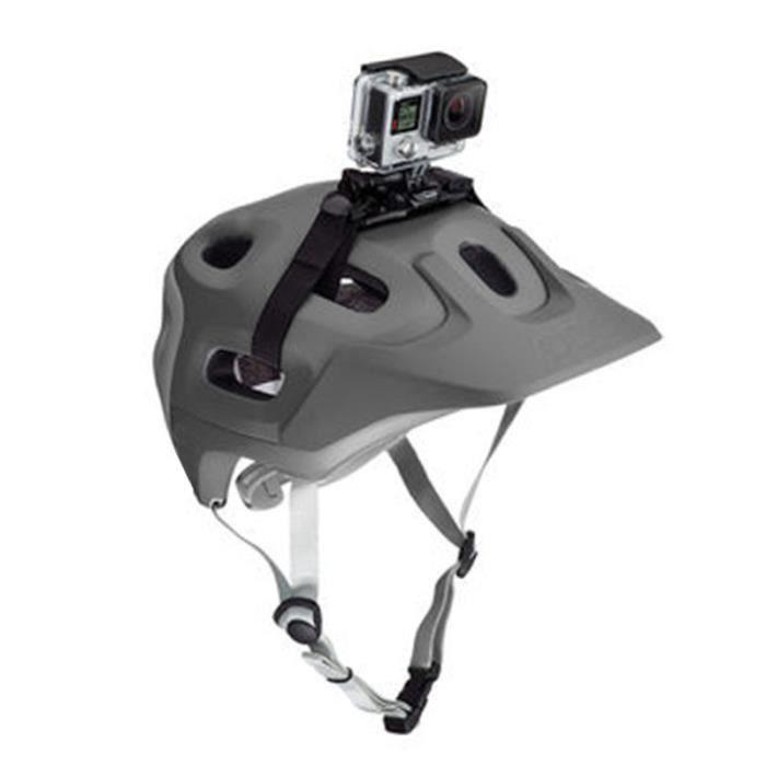 Adaptateur de support de fixation de ceinture de tête de sangle de casque de vélo réglable pour accessoires GoPro Hero 4/3 + / Noir