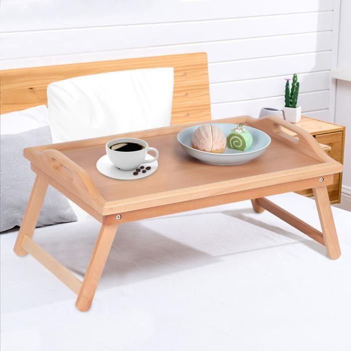 Plateau de Lit Pliable Multifonction Ménage Table Basse Petit Côté En Bois Fin Snack Table À Thé Meubles D'extérieur