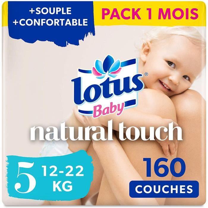 Lotus Baby Natural Touch - Couches Taille 5 (12-22 kg) - lot de 8 paquets de 20 couches (160 couches en totale)
