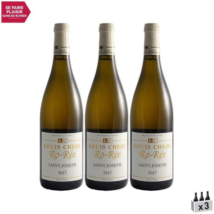 Saint-Joseph RO-REE Blanc 2017 - Lot de 3x75cl - Domaine Louis Chèze - Vin AOC Blanc de la Vallée du Rhône - Cépages Marsanne, Rouss