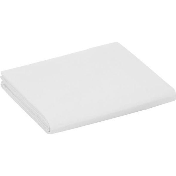 Drap plat 1 place et 2 places 100% coton/57 fils/cm² - Couleur: Linge de lit Blanc - Taille de drap plat: 240 x 300 cm pour lit 2 p