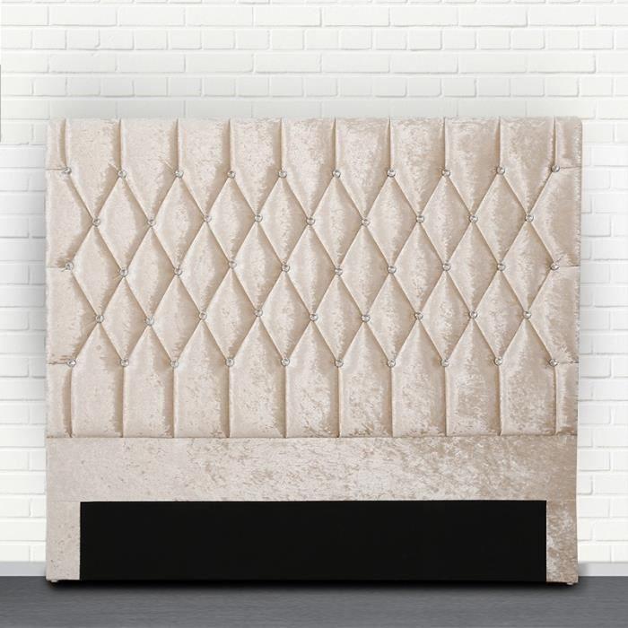 Tête de lit capitonné avec strass FOCUS - Beige - 160 cm