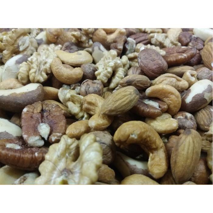 Mélange de Fruits secs 1 Kg (Amandes,Noisettes,Noix de Cajou,Noix de Pecan,Noix du Brésil et Cerneaux de Noix ) , sac refermabe.