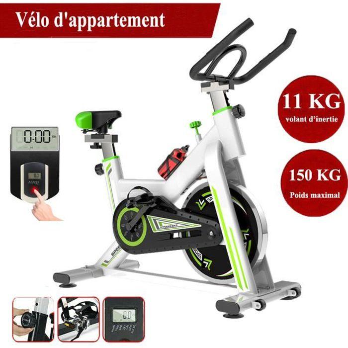 LEXLIFE Vélo d'appartement biking entrainement - Inertie de 11 kg - Vélo d'Exercice Multifonction maison bureau exercice - Blanc