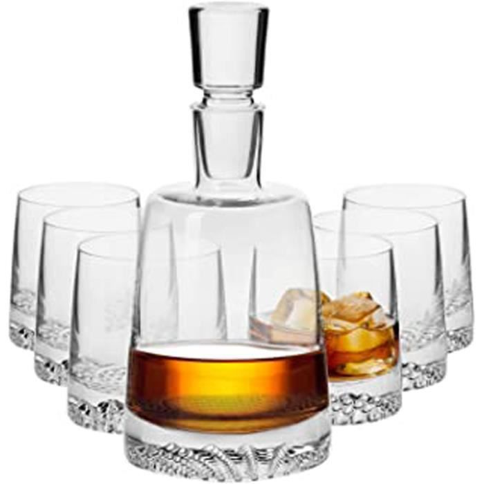 Décanter Service Set à Whisky Verre - Carafe 950 ML - 6 x 300 ML Verres - Collection Fjord - Parfait la Maison, Les Restaurants, Les