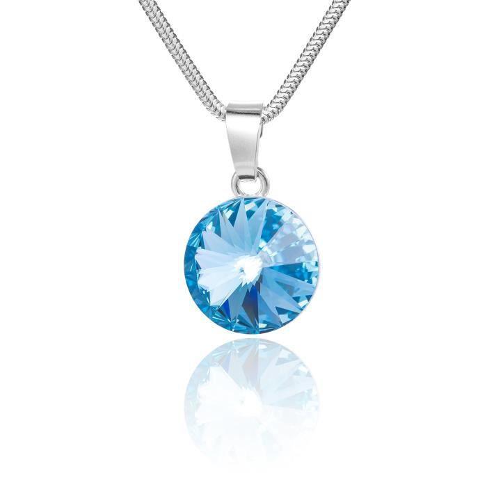 Collier en argent avec pendentif des éléments Swarovski d'origine, rond, bleu, boîte, idéal comme cadeau pour une femme ou une pe