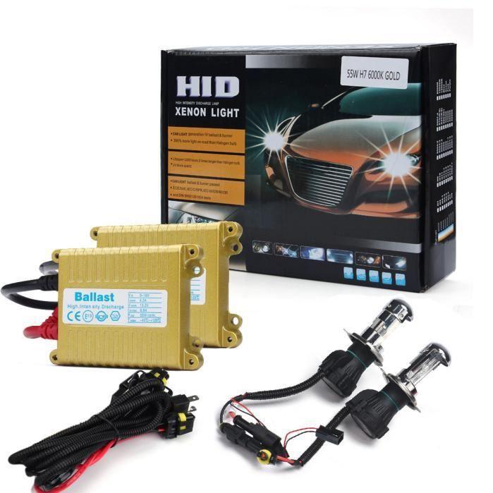 Ampoule Xénon HID 12V 55W Slim H4 6000K + Kit de Conversion de Ballast Highl - Low g570
