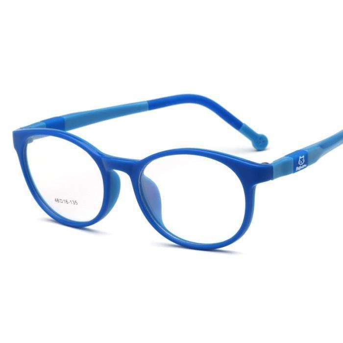 Montures de Lunettes de vue,Lunettes optiques tr90 flexibles pour enfants Monture de lunettes sûres pour filles et - Type blue