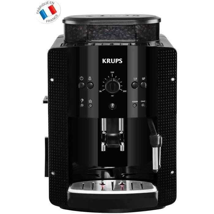 KRUPS ESSENTIAL NOIRE Machine à café à grain Machine à café broyeur grain Cafetière expresso 2 tasses Nettoyage automatique Buse vap