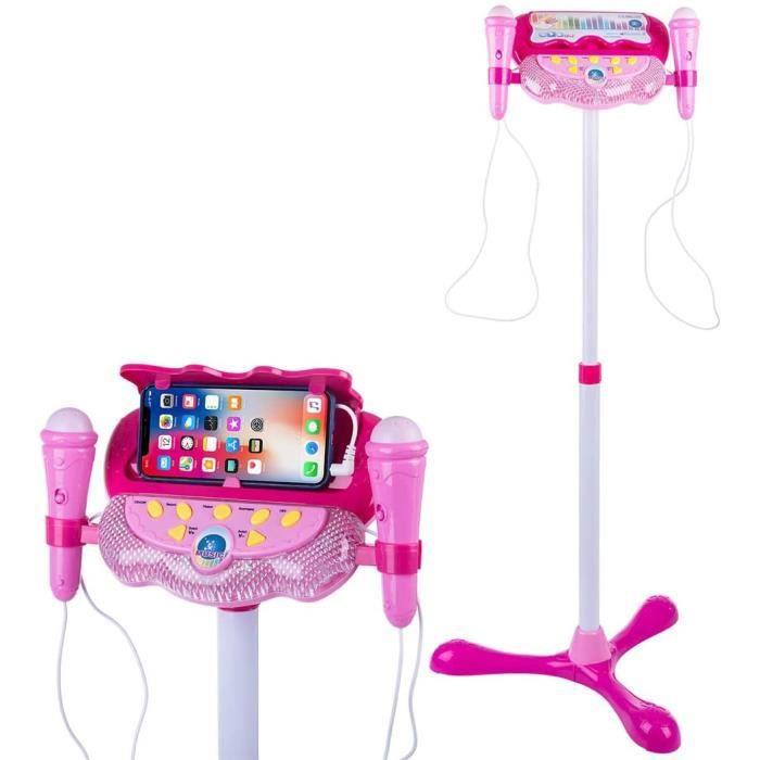 Karaoké Microphone pour Enfants, Réglable Enfants Micro Musical Jouet avec 2 Microphones Micro Karaoke Jeu Cadeau pour Enfants, Rose